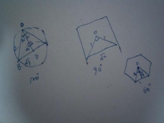 园内正多边形的计算(1)正三角形 OD:BD:OB=1:根号3:2,则中心角度数=(2)正四边形 OE:AE:OA=1:1:根号2,则中心角度数=(3)正六边形AB:OB:OA=1:根号3:2,则中心角度数=