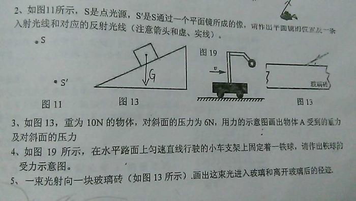 人教版八年级上册物理画图题