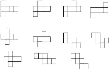 """下面哪些能折成一个正方体,画""""√""""."""