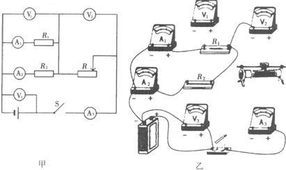 小敏探究了串联电路合并联电路的电压关系和电流关系后,对如图甲所示