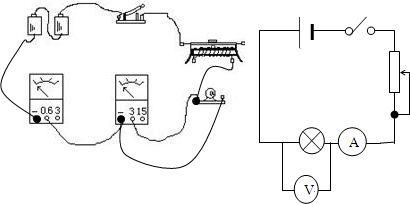 解:实物图和电路图如图所示:电压表并联在灯泡两端,电流表串联在电路