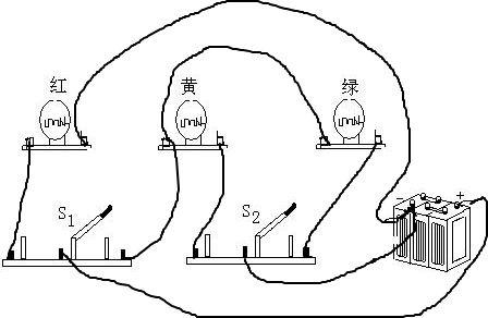 【解答】解:三个灯泡并联,s 1控制红灯和绿灯,s 2控制绿灯和黄灯.
