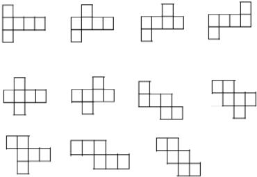 下列各图中能折成正方体的是( )