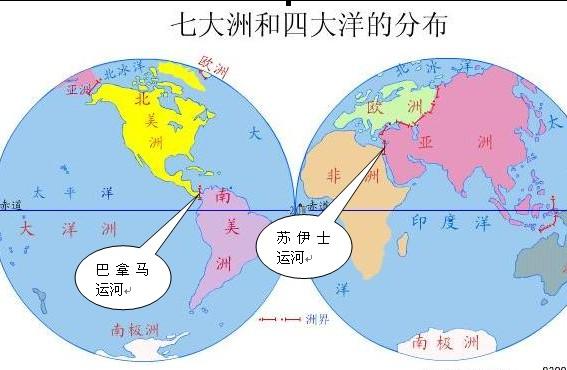 下图是七大洲四大洋分布图.仔细读图