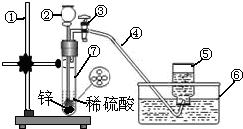 下图为实验室制取<font color=red>氢气的简易装置</font>图,按要求填