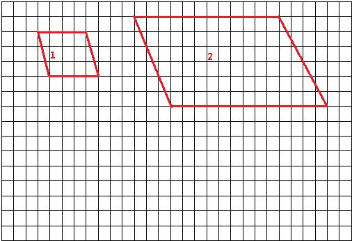 在下面方格纸的左边画一个面积是12cm2的平行四边形,再将此图形按3 1放大画在右边