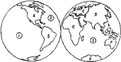 """读图""""七大洲四大洋分布图""""回答"""