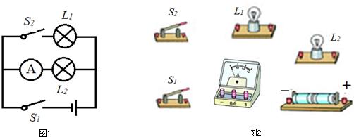 根据如图1所示的电路图连接图2,要求导线不要交叉,电流表使用0~0.