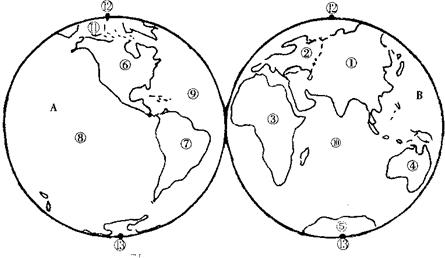 点评:本题考查七大洲和四大洋的位置