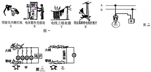 ; (2)图二是家庭电路的连接示意图,a,b是两条进户线,为了用电