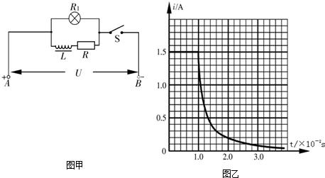 图甲为某同学研究自感现象的实验电路图,用电流传感器显示各时刻通过