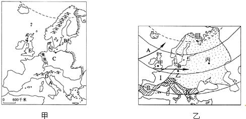 """图是""""欧洲西部地形简图""""(甲)和""""欧洲西部气候分布图""""(乙),读图回答25"""