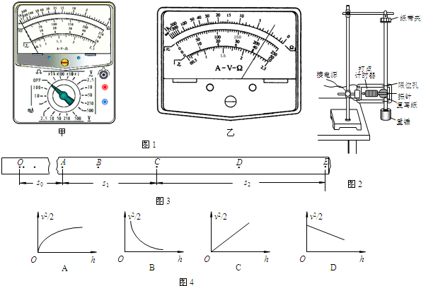 (2)用如图2所示的实验装置验证机械能守恒定律.实验所用的电源为学生电源,能输出电压为6V的交流电和直流电.重锤从高处由静止开始落下,重锤上拖着的纸带通过打点计时器打出一系列的点,对纸带上的点的痕迹进行测量,即可验证机械能守恒定律. 下列列举了该实验的几个操作步骤: A.按照图示的装置安装器件; B.将打点计时器接到电源的6V直流输出端上; C.用天平测量出重锤的质量; D.释放悬挂纸带的夹子,同时接通电源开关打出一条纸带; E.测量打出的纸带上某些点之间的距离; F.根据测量的结果计算重锤下落过程中减