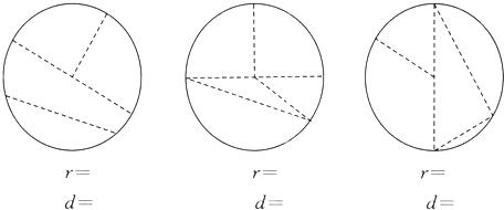 (4)用圆规画一个直径为10厘米的圆,圆规两脚之间的距离是