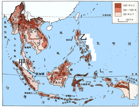 """读""""东南亚地形图"""",回答下列问题"""