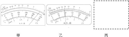 位的多用电表测量,其表盘及指针所指位置如图甲所示