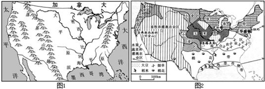 读下面美国本土地形,河流分布示意图(图1)和美国农业带分布图(图2)