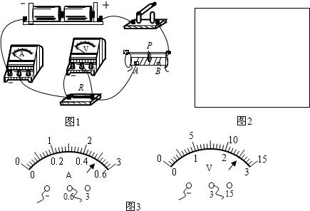 如图1所示为电流表,电压表测电阻的实物连接图