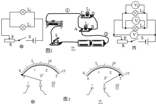 """并联电路电压的关系"""",小强先按图1甲所示的电路图连接成图1乙的实物图"""