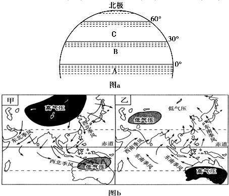读气压带,风带分布图(图a)和亚洲季风环流图(图b),回答问题.图片