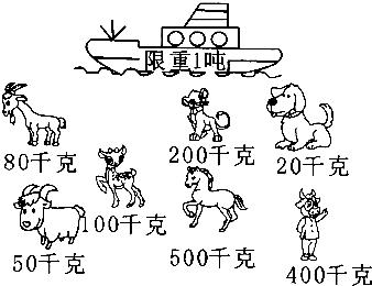 只要几种动物的体重之和不