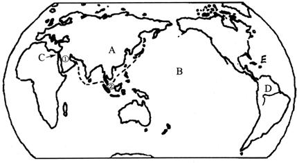 (1)地球表面分为七大洲四大洋,图中a,b,代表的大洲或大洋名称: a