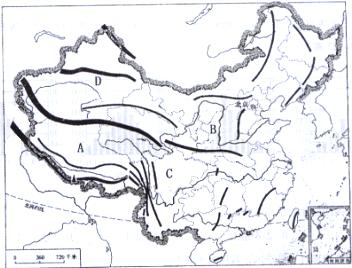"""读""""中国地形图"""".回答问题"""