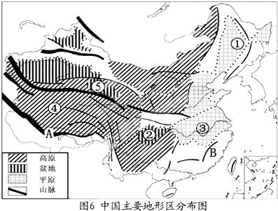 读中国主要地形区分布图填空