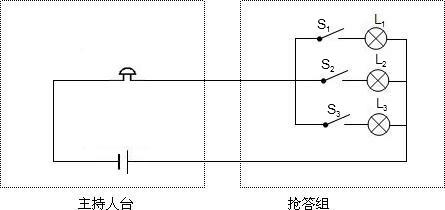 解:三灯泡并联,且各自有一开关串联;电铃位于干路