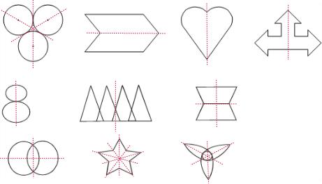 解:画出下列图形的对称轴