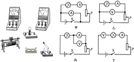 (5)另外四组同学各自设计了如图甲、乙、丙、丁四个电路图. 这四组同学连接好电路后,闭合开关S,移动变阻器的滑片P时,其中三组分别出现了下列三种异常现象: (A)电流表示数有变化,电压表示数几乎为零 (B)电流表烧坏. (C)电流表示数几乎为零,电压表示数基本不变 请你判断:按