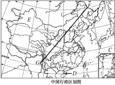 (4)图中的g-f线是我国的人口密度分界线,该线由黑龙江的黑河到云南的
