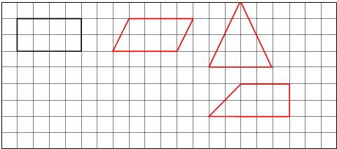 在下面的方格图中画一个平行四边形 一个梯形和一个三角形,使它们的面积都和图中长方形的面积相等 小学数学