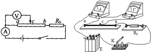 解:(1)电源,电流表,待测金属丝,保护电阻组成串联电路,由题意知:电压