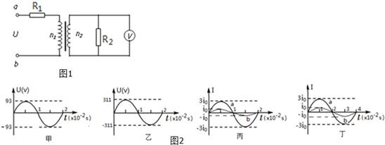 为理想交流电压表.a,b端加交流电压u=311sin100πt(v),则图2中(  )