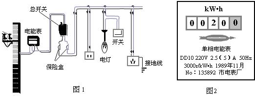 她要利用电路中的电能表和手表测出图1中电灯的电功率.
