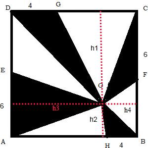 G H分别是CD AB的三等分点,O是正方形内任意一点,求阴影部分