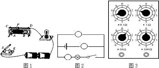 图1所示的电路中,如果变阻器滑片p由a向b移动,通过灯泡的电流强度变大