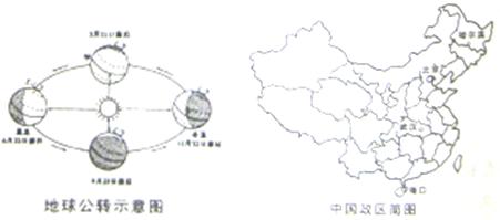 """示意图""""和""""中国政区简图""""判断,当北半球夏至日时,哈尔滨,北京,武汉"""
