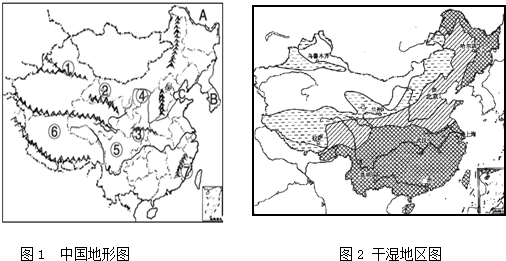 读中国地形图和干湿地区图填空
