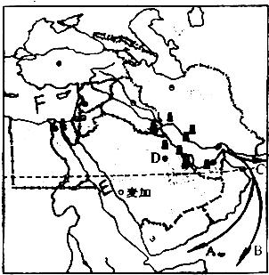 读中东地区图,回答问题