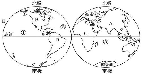 读东西半球图,完成下列问题.