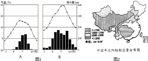 """读图1""""拉萨和重庆的气候直方图""""和图2""""中国年辐射总量分布图"""",回答"""