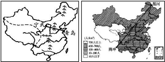 读 中国地形地势分布图 和 中国人口分布图 ,回答下列问题.
