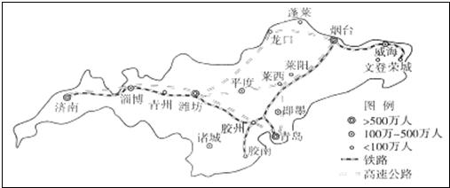 """读图""""山东半岛部分城市图(2010年)"""",回答下列27-28题."""
