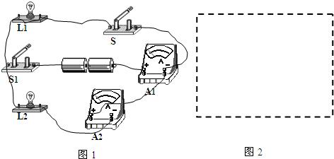 分析:由实物图可知,两只灯泡并联,开关s控制灯泡l 1,开关s 1控制干路