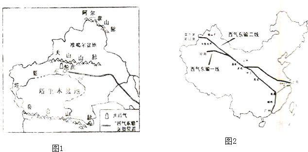 (3)看图2西气东输一线工程的起点是位于塔里木盆地的  ,东到 &