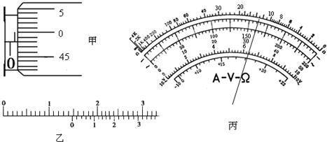mm;丙图是多用电表表盘:如果用×100λ