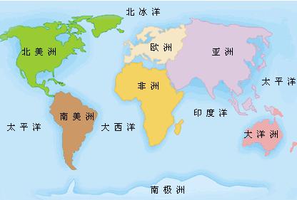 按面积由大到小排列分别为:亚洲
