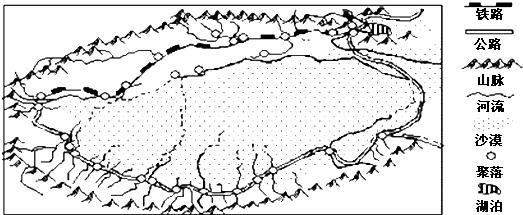 如图是我国新疆塔里木盆地示意图.读图回答28~29题